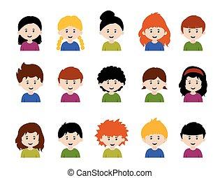 Große Kinder Avatare, süße Cartoon-Jungs und Mädchen mit verschiedenen Emotionen.