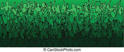 Große Menge tanzender Leute - grün.