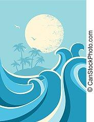 Große Ozeanwellen und Sonne. Natur-Seebild-Poster Hintergrund