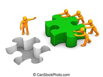 Große Puzzle-Teamarbeit