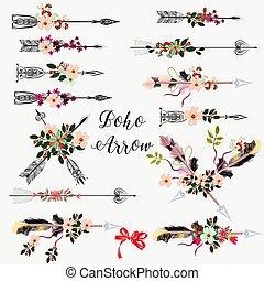 Große Reihe von boho Pfeilen mit hand gezeichneten Blumen.eps