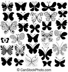 Große Sammlung, schwarze Schmetterlinge