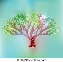 Großer Baum und Frau vor dem Baum mit funkelnden Blättern