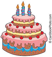 Großer Cartoon Geburtstagskuchen.