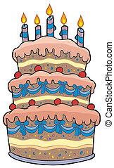 Großer Cartoon-Kuchen mit Kerzen