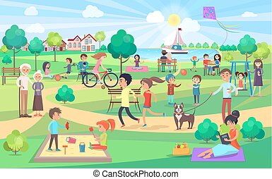 Großer Grünpark mit Menschen aller Altersgruppen an einem schönen Tag