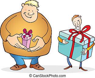 Großer Mann mit kleinem Geschenk und dünnem Kerl mit großem.