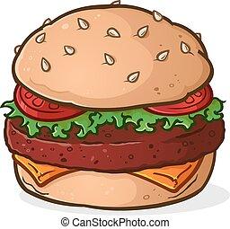 Großer saftiger Hamburger-Cartoon.