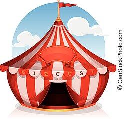 Großer Zirkus mit Banner.