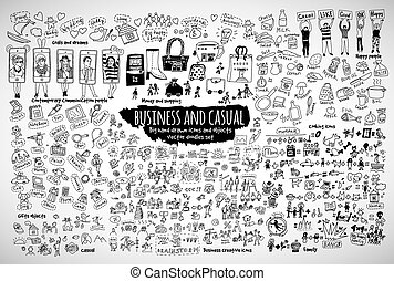 Großes Bündel Business Casual Doodles Icons und Objekte.