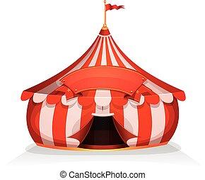 Großes, kleines Zirkuszelt mit Banner.