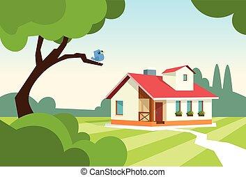 Großes modernes Haushaus mit Garten.