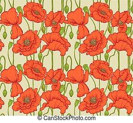 Großes nahtloses Muster roter Mohnblumen