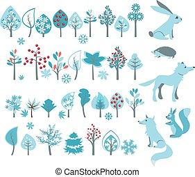 Großes Set mit Winterbäumen und Waldtieren.