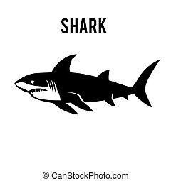 Großes weißes Hai-Schild-Logo auf einem weißen Hintergrund.