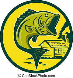 Großmaul-Bassen-Fischspringen