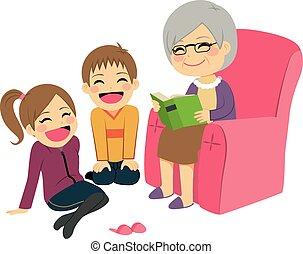 Großmutter liest Geschichte.