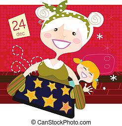Großmutter mit Weihnachtskeksen