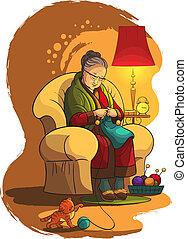 Großmutter Stricke im Sessel