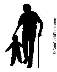 Großvater mit Stock und Kind