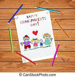 Großvater Tag Kinder farbenfrohe Hand gezeichnet Vektorgrafik von Oparends und Kindern.