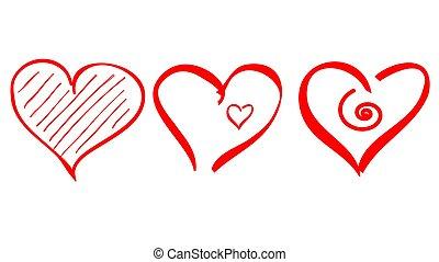 grobdarstellung, ikone, herz, schlag, form, logo, bürste, liebe, vektor, ziehen
