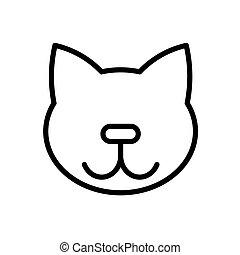 grobdarstellung, katz, white., illustration., wohnung, vektor, schwarz, weißes, freigestellt, einfache , icon.