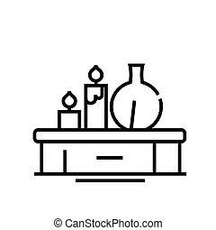 grobdarstellung, linie, aromatheraphy, vektor, zeichen, abbildung, linear, symbol., begriff, ikone