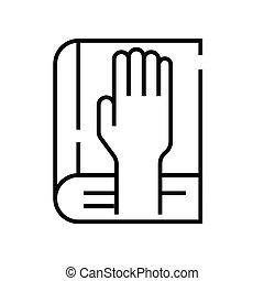 grobdarstellung, linie, beschwörung, vektor, zeichen, abbildung, linear, symbol., begriff, ikone