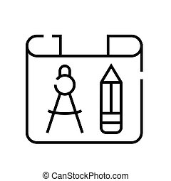 grobdarstellung, linie, vektor, zeichen, abbildung, blaupause, linear, symbol., begriff, ikone