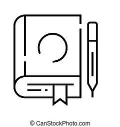 grobdarstellung, linie, vektor, zeichen, abbildung, linear, symbol., begriff, ikone, buch