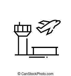 grobdarstellung, linie, vektor, zeichen, abbildung, linear, symbol., begriff, ikone, flughafen