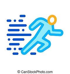 grobdarstellung, rennender , menschliche , vektor, abbildung, ikone
