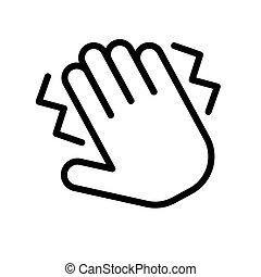 grobdarstellung, wohnung, white., illustration., klatschen, crmp, vektor, schwarz, hand, weißes, freigestellt, einfache , icon., symbol.