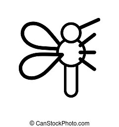 grobdarstellung, wohnung, white., illustration., vektor, schwarz, moskito, weißes, freigestellt, einfache , icon.
