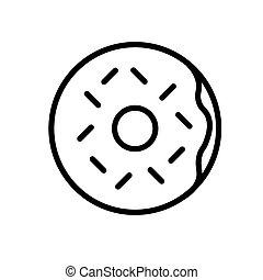 grobdarstellung, wohnung, white., illustration., vektor, schwarz, weißes, freigestellt, donut, icon., einfache
