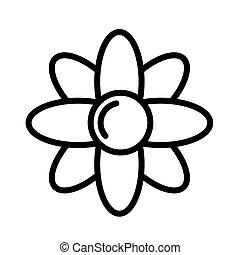 grobdarstellung, wohnung, white., illustration., vektor, schwarz, weißes, freigestellt, einfache , icon., blume