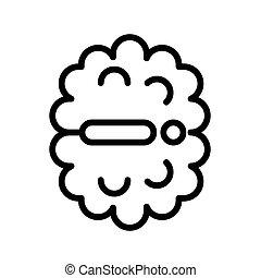grobdarstellung, wohnung, white., illustration., vektor, schwarz, weißes, geistesblitz, freigestellt, einfache , icon.