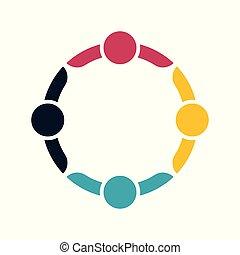 Group people Logo Handschlag in einem Kreis, Teamwork icon.vector illustrator