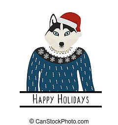 Gruß Hintergrund mit silberianischem Husky. Ein Hund mit einem Hut des Weihnachtsmanns. Flat Design. Pet. Süßer Hund