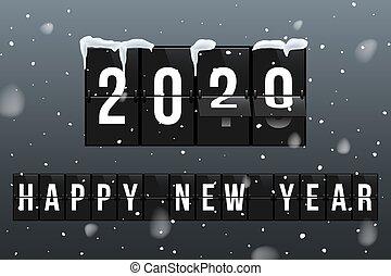 gruß, neu , karte, 2020, vektor, jahr, schablone