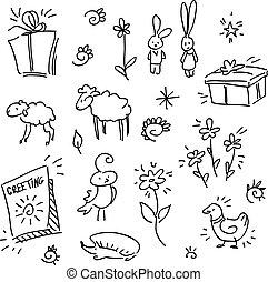 gruß, satz, elemente, dekor, karte