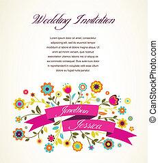 Grußkarte, Einladung, Hochzeit oder Ankündigung.