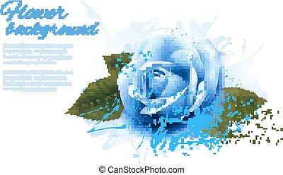 Grußkarte mit blauer Rose. Vector