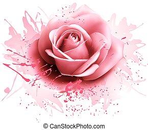 Grußkarte mit rosa Rose. Vector