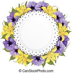 Grußkarte mit schönen Blumen. Vector.