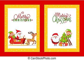 Grußkarten mit Weihnachtsgeist und Comic-Helden