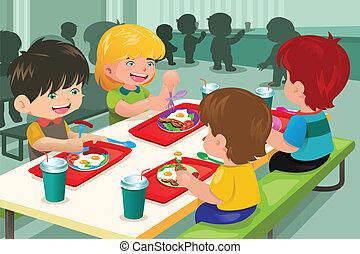 Grundschüler essen in der Cafeteria zu Mittag.