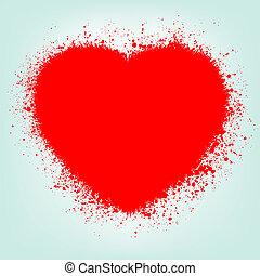 Grunge abstraktes Herz mit rotem Spritzer. EPS 8