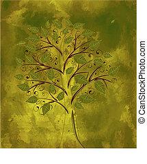 Grunge bachklaufener Blumenbaum
